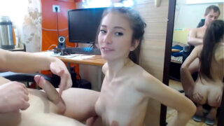 Amateur blowjob by stepsister with small tits
