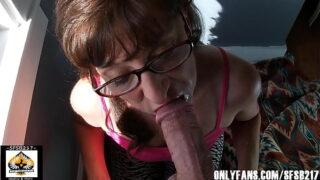 Sexy MILF Marie wearing glasses sloppy blowjob lots of cum
