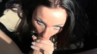 Busty MILF ex-wife picked up and fucked in car outdoors